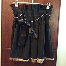韓國版 毛呢 兔毛 黑珍珠 腰鏈 百摺 公主 荷葉 裙