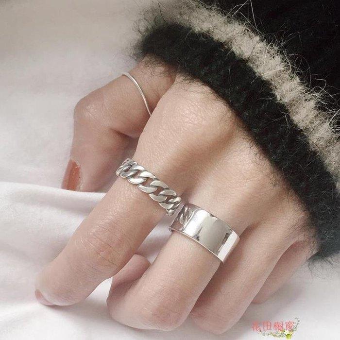 正韓簡約復古做舊燒銀工藝練條麻花戒指開口戒指環