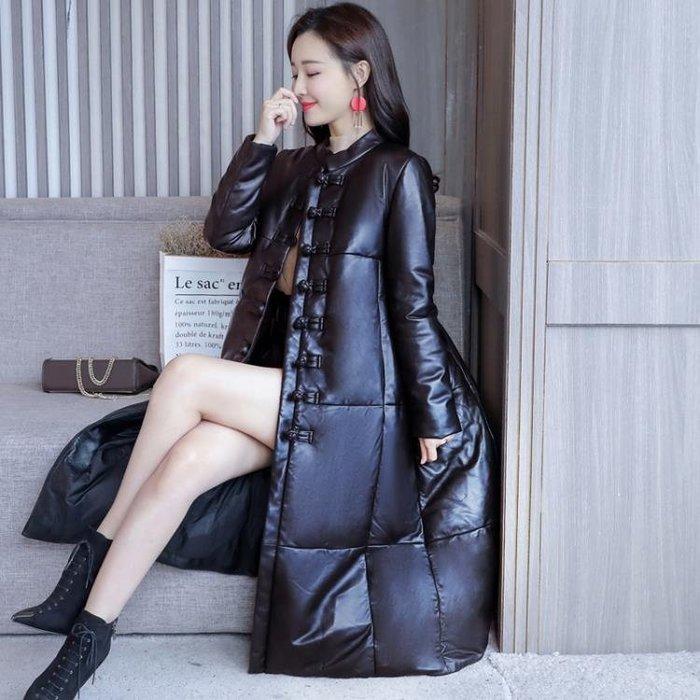 時尚民族風黑色亮面皮質羽絨服女長款立領顯瘦外套洋裝