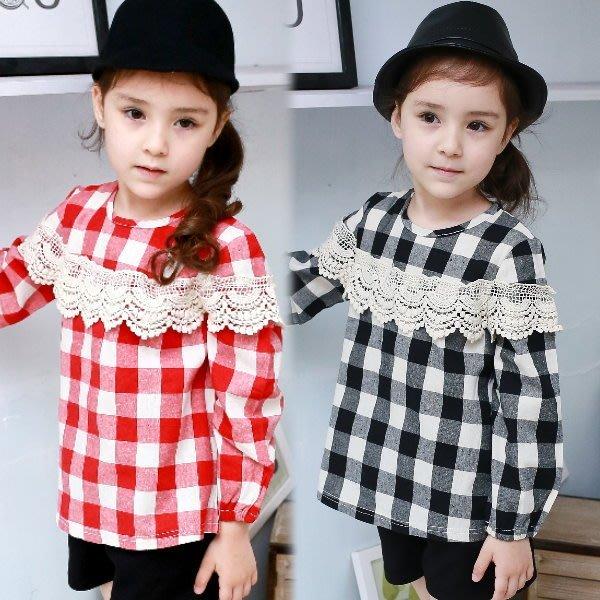 【班比納精品童裝】氣質棉麻蕾絲格紋娃娃上衣-黑/紅  兩色可選