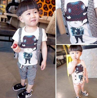 ♥ 【BS0070】 韓版男童裝燙鑽假背心套裝 2色 (黑色 橘粉 現貨) ♥