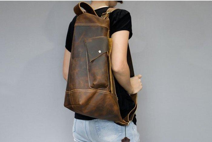 香港OUTLET代購 復古原創設計 手工瘋馬皮 背包 多功能包 單肩包 頭層牛皮斜挎包 後背包 休閒包電腦包 水桶包 大