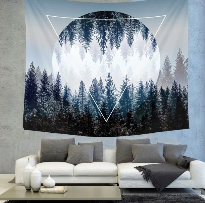 風景掛布-森林背景布掛毯掛畫北歐風格簡約裝飾布臥室書房客廳牆壁裝飾(150*230cm)_☆找好物FINDGOODS☆