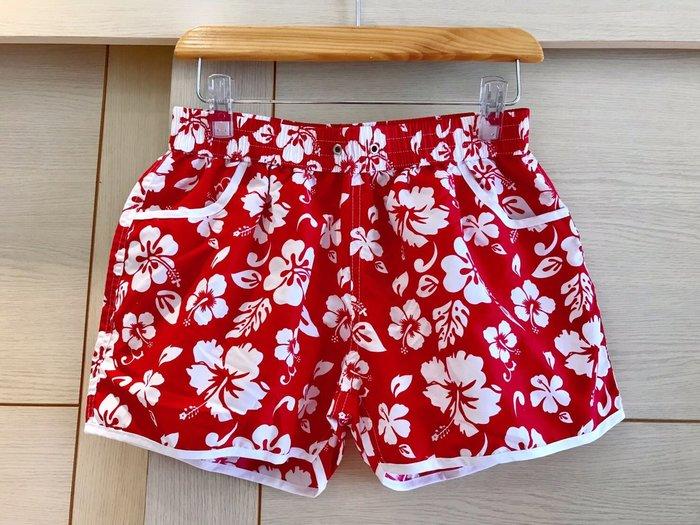 鬆緊腰花朶短褲/熱褲/休閒短褲/沙灘短褲(紅色)