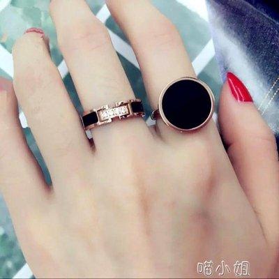 微鑲鑽黑色百搭戒指女款鈦鋼鍍玫瑰金食指環戒子首飾品    全館免運
