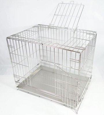 【優比寵物】2尺不鏽鋼/不銹鋼(雙門=正門+頂蓋門)活動摺疊式白鐵304#級兔籠/狗籠/貓籠/寵物籠-台灣製造---