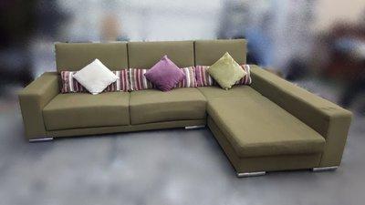 樂居二手家具(中) 便宜2手傢俱拍賣A111708綠色L型布沙發組* 單面實木椅 客廳桌椅 5人座木板椅 木頭椅