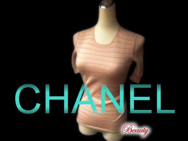 *Beauty*CHANEL香奈兒粉色短袖喀什米爾針織衫  03A年 WE11