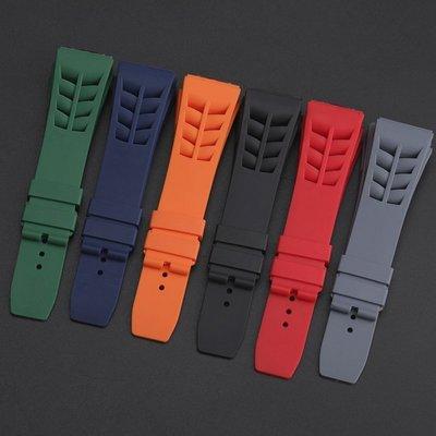 錶帶 手錶配件 硅膠表帶適配RICHARD MILLE 理查德米勒表帶凸25mm男防水表帶 確幸