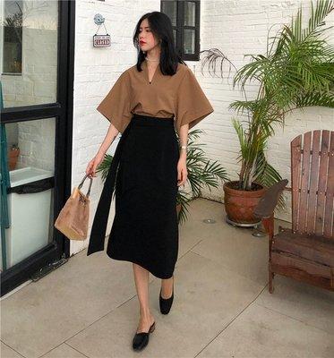 夏季新款韓版百搭簡約廓形V領上衣+高腰系帶不規則半身裙兩件套裝