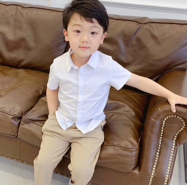 莎芭 襯衫 夏季男女童短袖白襯衫 兒童翻領打底襯衣 韓版童裝90-140cm