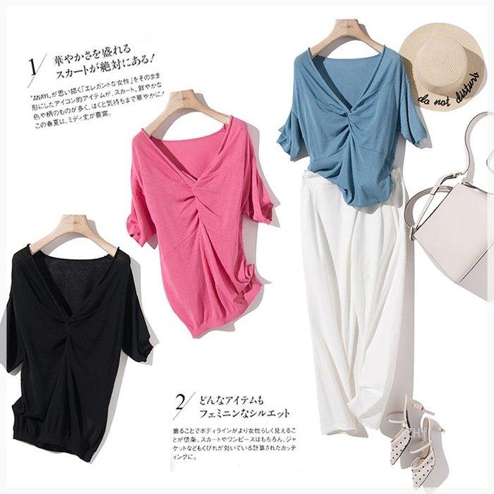 【Elfalas】韓版大V領 五分袖綿麻上衣