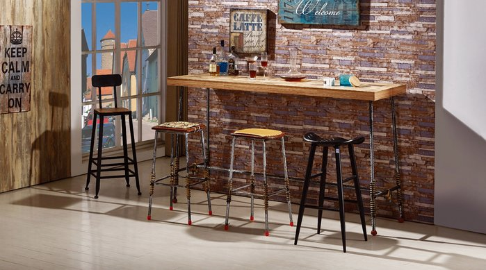 FA-475-1 伍德6.6尺鋼筋吧台桌/吧台椅/高品質/新竹以北區/家具/超低價/系統家具高品質/1元起
