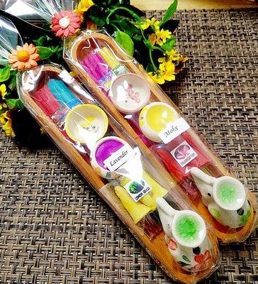 「還願佛牌」泰國進口 泰國線香 寶塔香 蠟燭 小象 和 迷你香盤 香薰木盒 套裝 009