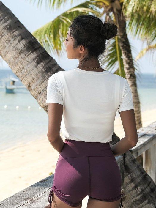 上衣 短袖運動上衣跑步速乾衣t恤女短款健身衣夏季薄款瑜珈服--崴崴安