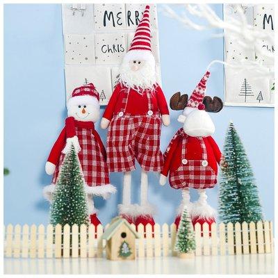聖誕節裝飾品長腳娃娃布藝格子聖誕老人音樂公仔聖誕裝飾玩偶櫥窗