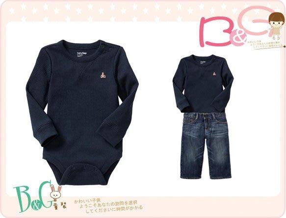 【B& G童裝】正品美國進口GAP 經典小熊圖樣深藍色長袖連身衣6-12mos