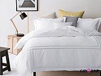 = cmCasa = [4512]美式簡約風格設計 GrayDot灰色點點全棉床品四件組 床包/床罩純白新發行