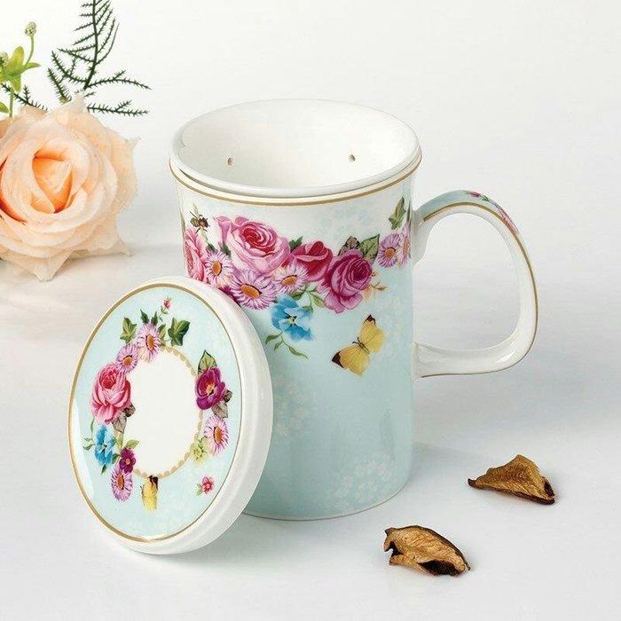 粉紅玫瑰精品屋~玫瑰花園奢華骨瓷杯 創意陶瓷泡茶杯~