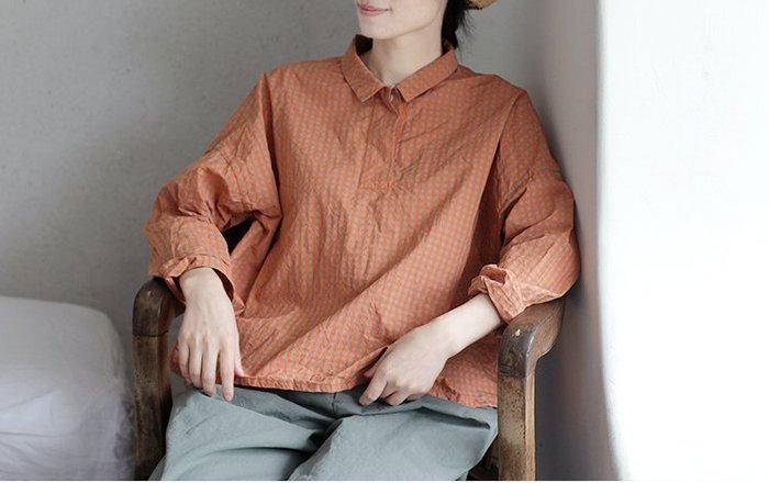 設計款高精密純棉格紋半門襟套頭式襯衫(老銀屋)
