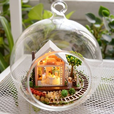 【微景小舖】潘多拉魔法花園+鐵架 手工DIY小屋 袖珍屋 娃娃屋 模型屋 材料包 玻璃小屋 手做工藝 拼裝房子 禮物