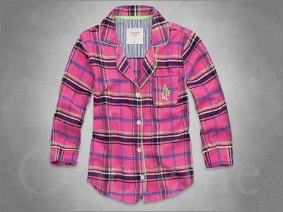 Abercrombie & Fitch A&F AF麋鹿七分袖粉紅色格紋翻領襯衫式睡衣免運 愛Coach包包