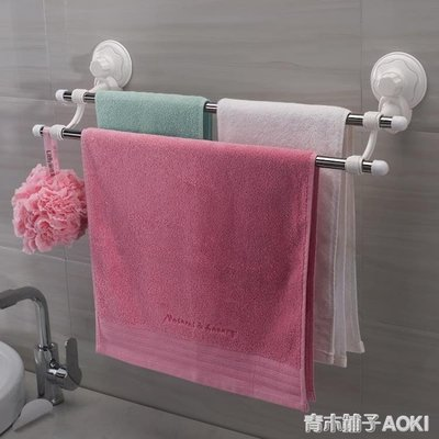 衛生間置物架雙桿毛巾掛架吸盤不銹鋼毛巾桿浴室防水壁掛架免打孔