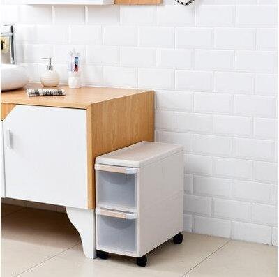 『格倫雅』22CM夾縫收納櫃抽屜式窄櫃廚房浴室縫隙儲物櫃塑膠夾縫置物架邊櫃^32392
