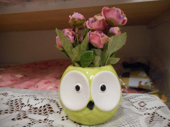 ~~凡爾賽生活精品~~全新可愛綠色貓頭鷹粉紅色玫瑰花造型小盆栽擺飾