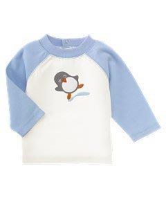 全新美國官網正品Gymboree水藍色小企鵝長袖T恤/100%純棉/3-6M-一元起標