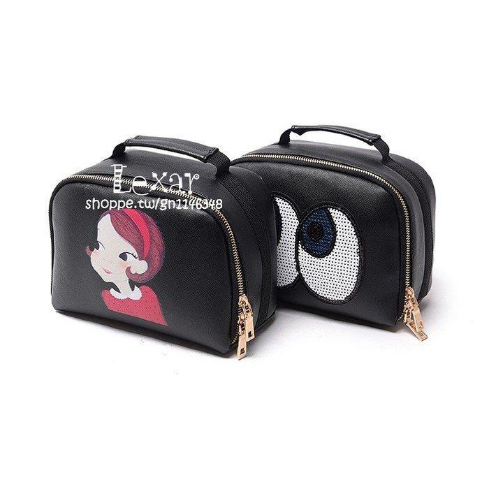 手拿化妝包大容量防水洗漱包黑色大牌收納包韓國化妝箱專櫃