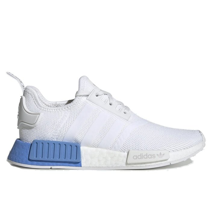 【A-KAY0】ADIDAS 女 NMD R1 J WHITE REAL BLUE 網布X編織 白藍【EE6677】