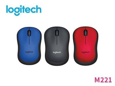 「阿秒市集」羅技 M221 無線 靜音 滑鼠 黑 / 藍 / 紅 三色款