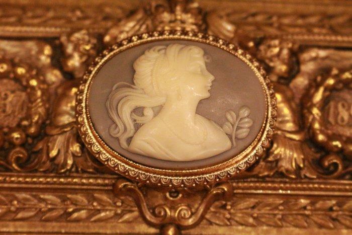 【家與收藏】特價稀有珍藏歐洲古典法國優雅細緻CAMEO鑲嵌仕女浮雕胸針/墜子2