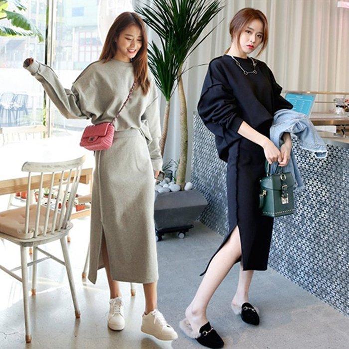 【2A Two】韓國熱銷💐棉質 休閒 長袖兩件式 運動套裝 上衣+長裙『381013005』