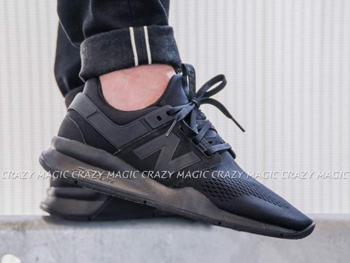 NEW BALANCE NB 247 襪套 慢跑鞋 網布 全黑 男生尺寸 # MS247EK