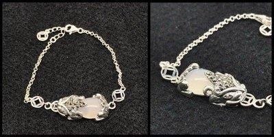 正生銀飾~咬錢貔貅白寶石手鏈 開運招財手鍊
