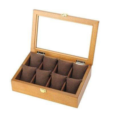 現貨/復古木質玻璃天窗手表盒子八格裝手表展示盒首飾手鏈盒收納盒/海淘吧F56LO 促銷價