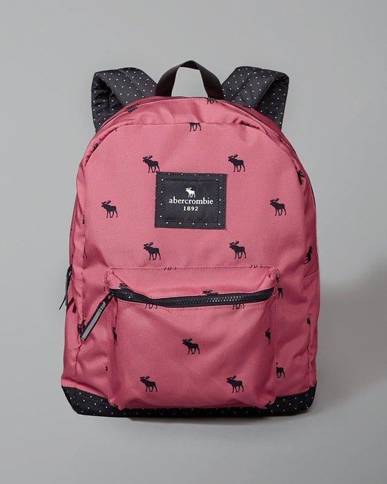 美國百分百【Abercrombie & Fitch】後背包 肩背包 尼龍 AF 麋鹿 書包 女款 粉紅 打折 H371