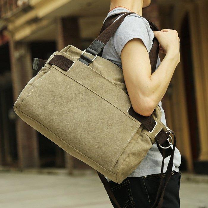 [包妳喜歡]韓版潮流單肩包男士斜挎包帆布手提包男休閑復古包學生背包旅行包