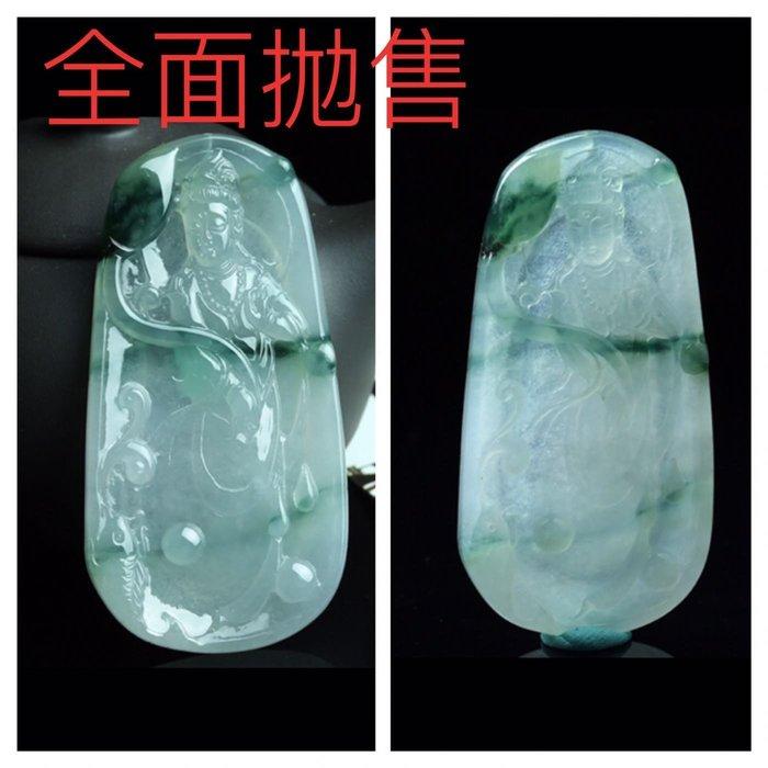 【福報來了】高冰飄綠觀音護身翡翠 重逹31.57g(編號347)