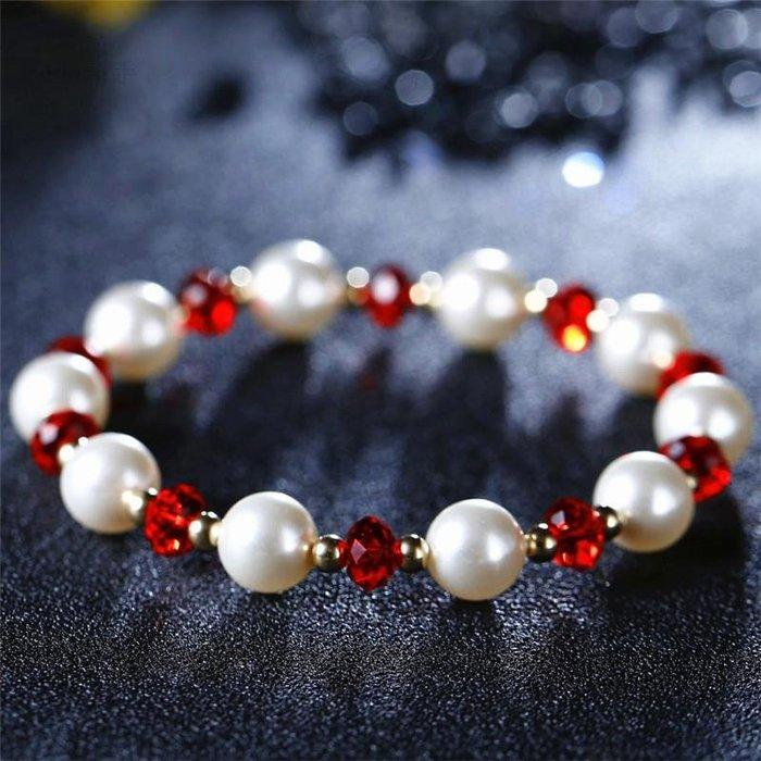 超閃包金珠水晶珍珠手鏈手串韓國流行簡約時尚 新麗小舖