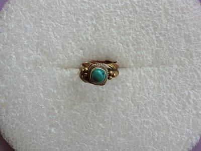 西藏老戒:三色銅.鑲圓形藍色寶石
