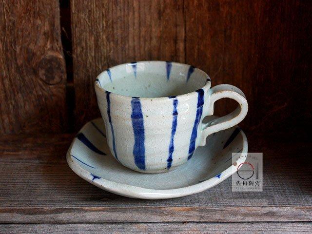+佐和陶瓷餐具批發+【XL070923-1B 吳須十草咖啡組-日本製】日本製 咖啡杯 拿鐵杯 茶飲杯 食器  招待用具