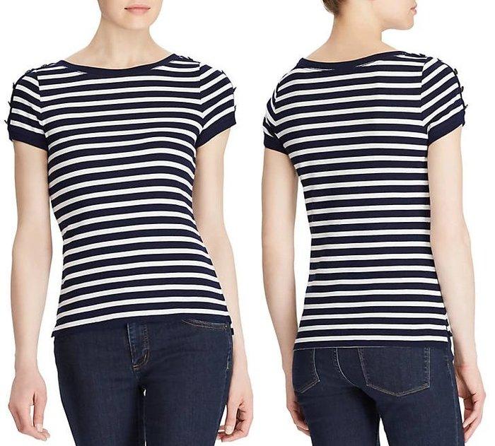 Lauren Ralph Lauren LRL 現貨 女生款 短袖 T恤 藍白 條紋