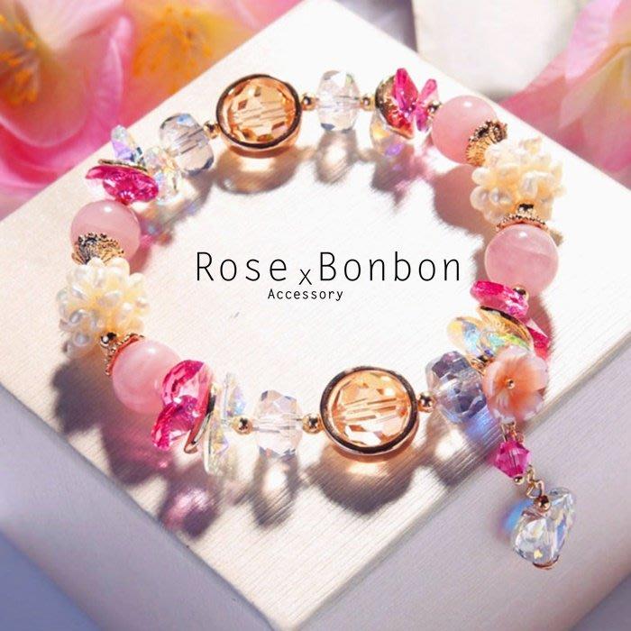 原創設計水晶手鍊手串 粉晶 髮晶 海藍寶 珍珠手環 送禮 桃花事業人緣 能量命理Rose Bonbon G4HA02