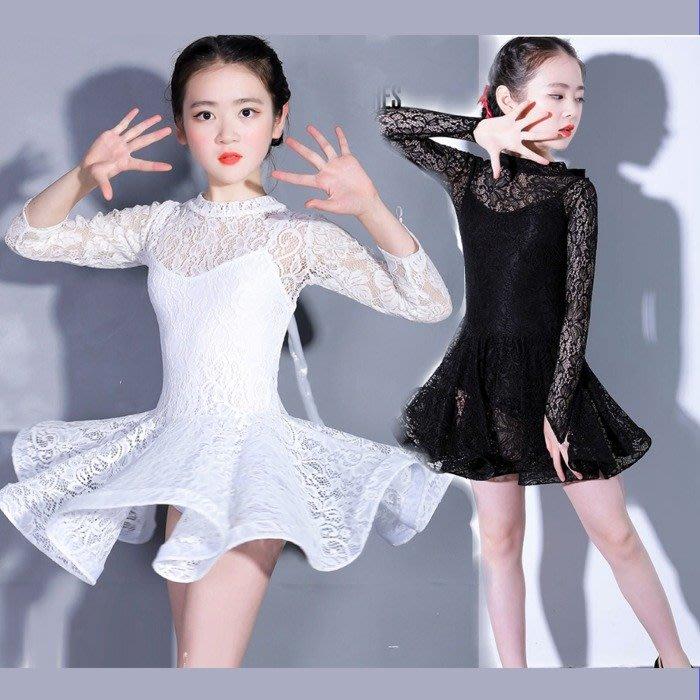 5Cgo【鴿樓】572320229795氣質女神兒童拉丁舞服裝女童舞裙舞衣練功服少兒比賽服女孩演出舞蹈服鏤空蕾絲-長袖