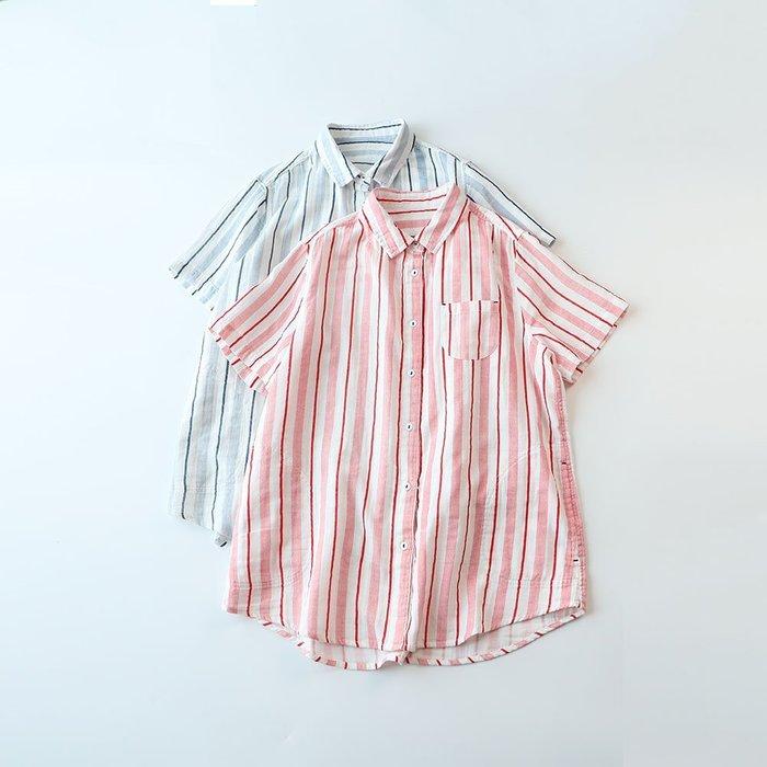 短袖上衣/夏季清新學院風雙層棉紗舒適柔軟短袖襯衫(老銀屋)