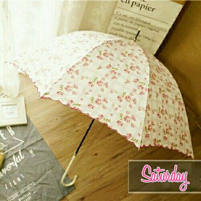 粉紅玫瑰精品屋~日系小清新甜美碎花二用晴雨傘防紫外線長柄傘~