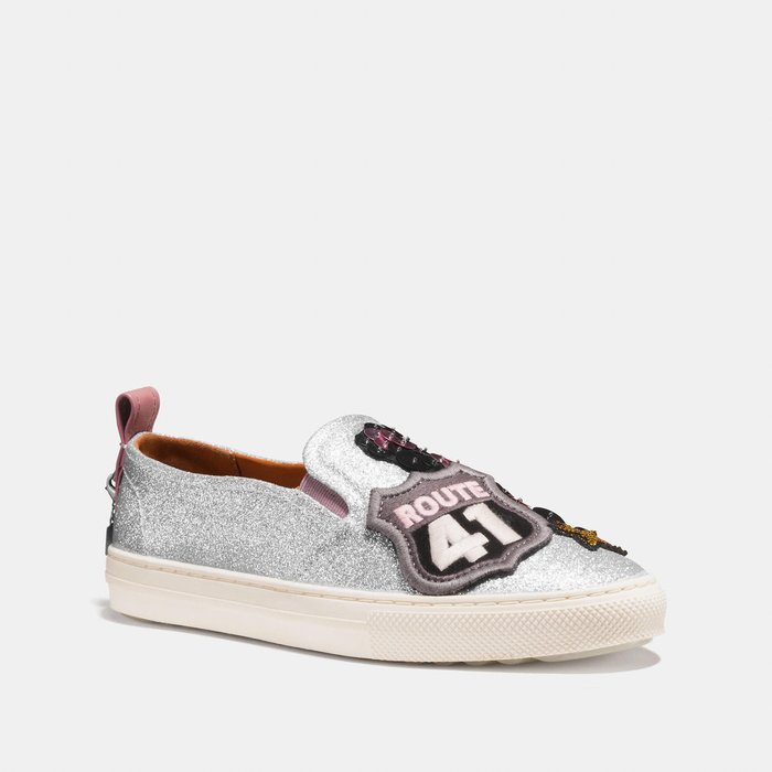 Coco小舖COACH G1927 C115 With Cherry Patches sneaker 銀色櫻桃徽章運動鞋